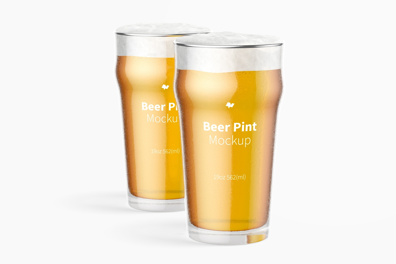 19 oz Beer Nonic Pints Glass Mockup