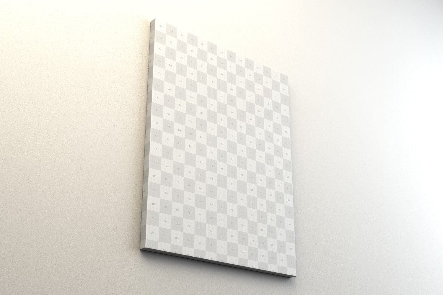 Portrait Canvas Frame Mockup Hanging on Wall in Perspective - Smart Objects