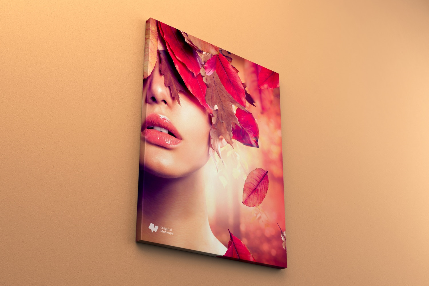 Portrait Canvas Frame Mockup Hanging on Wall in Perspective