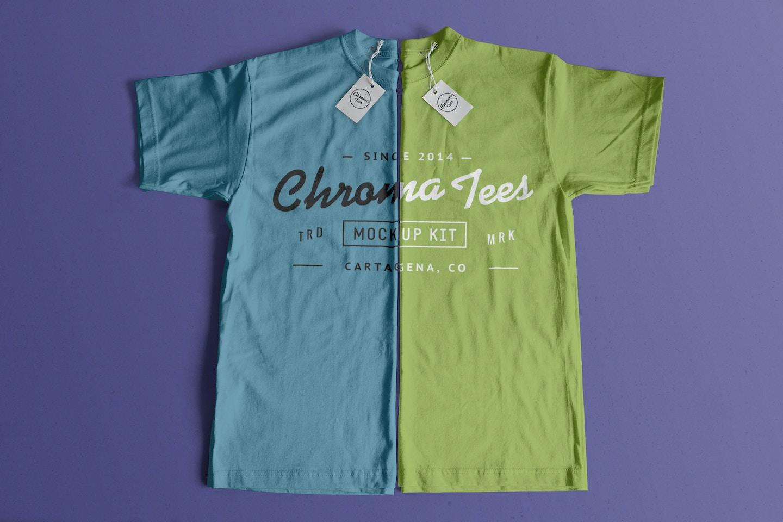 Vertically Folded T-Shirts Mockup 01