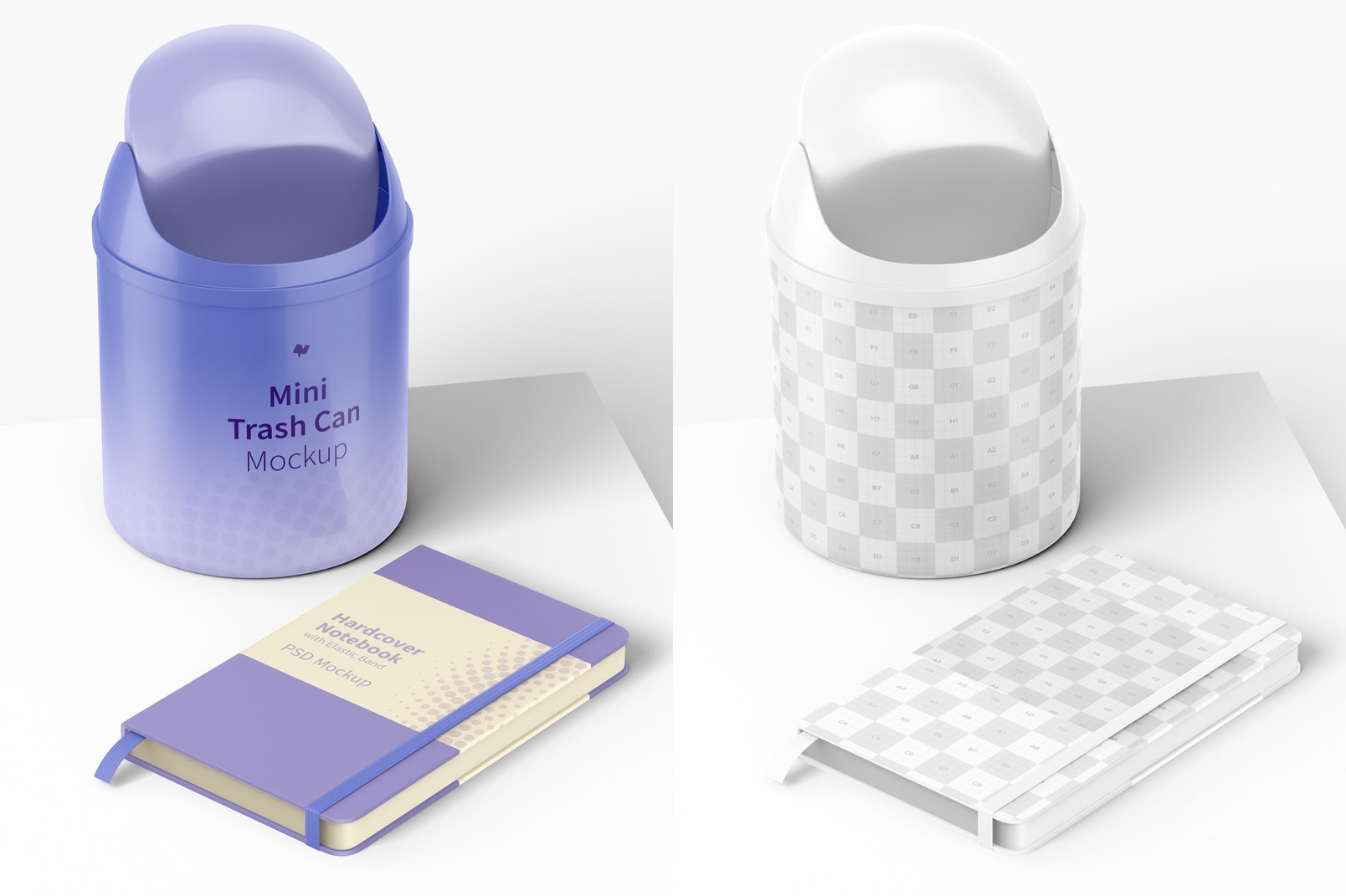 Mini Trash Can Mockup with Notebook