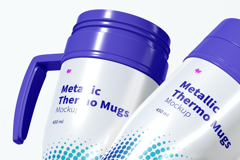 Glossy Metallic Thermo Mugs Mockup, Falling