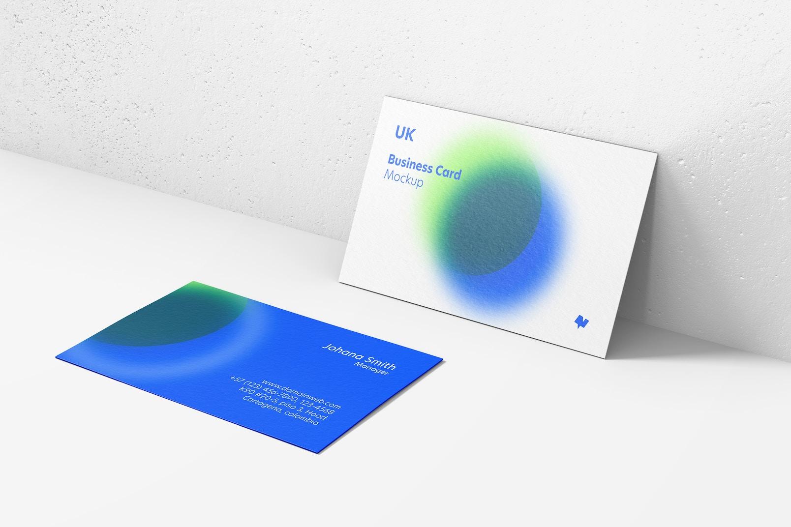 UK Landscape Business Cards Mockup