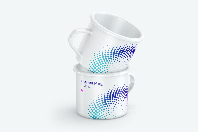 Enamel Mugs Set Mockup, Front View
