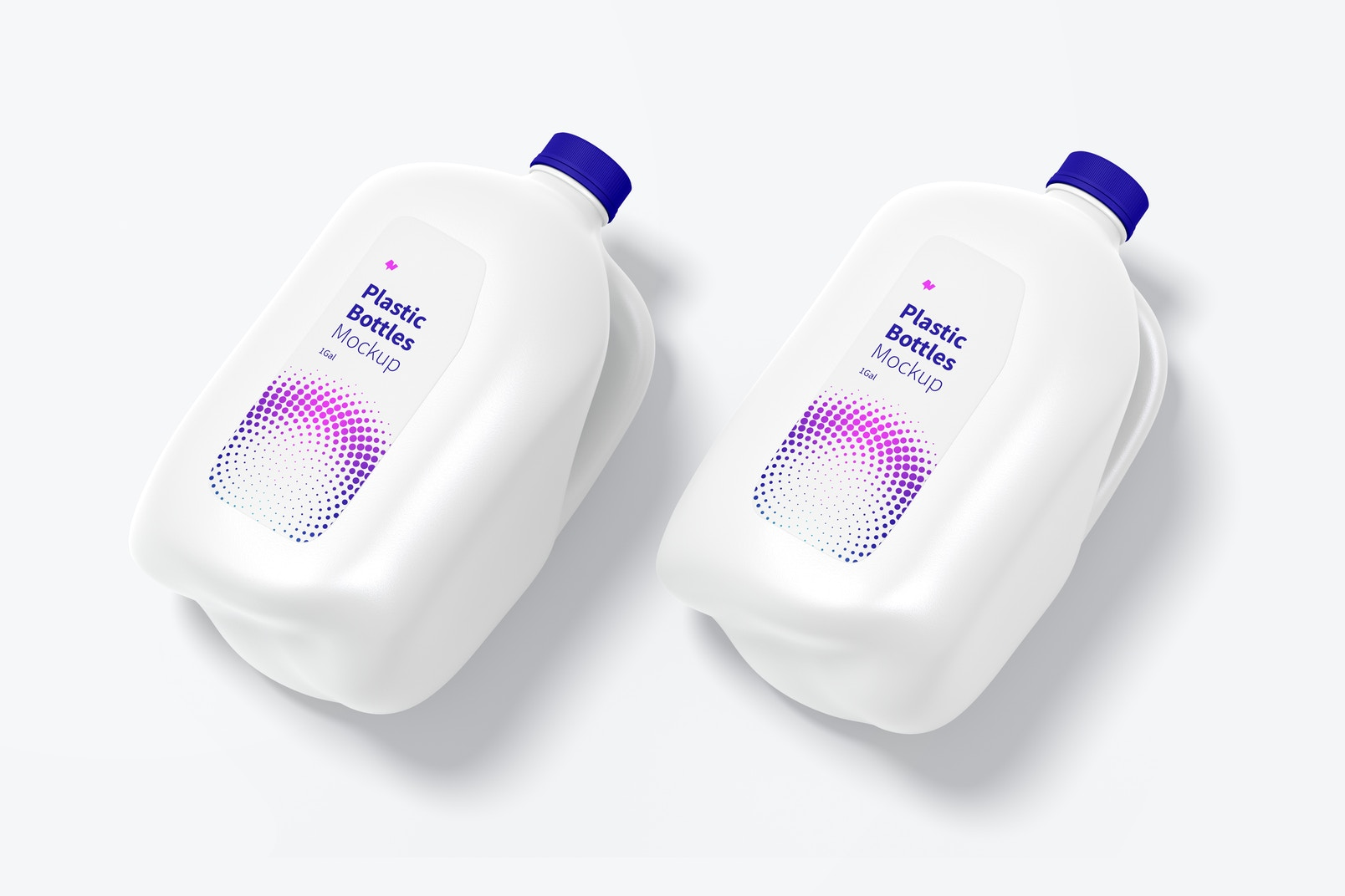 1 gal Plastic Bottles PSD Mockup, Perspective View