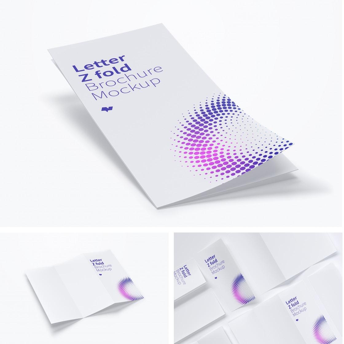 Letter Z Fold Brochure Mockups by Original Mockups on Original Mockups