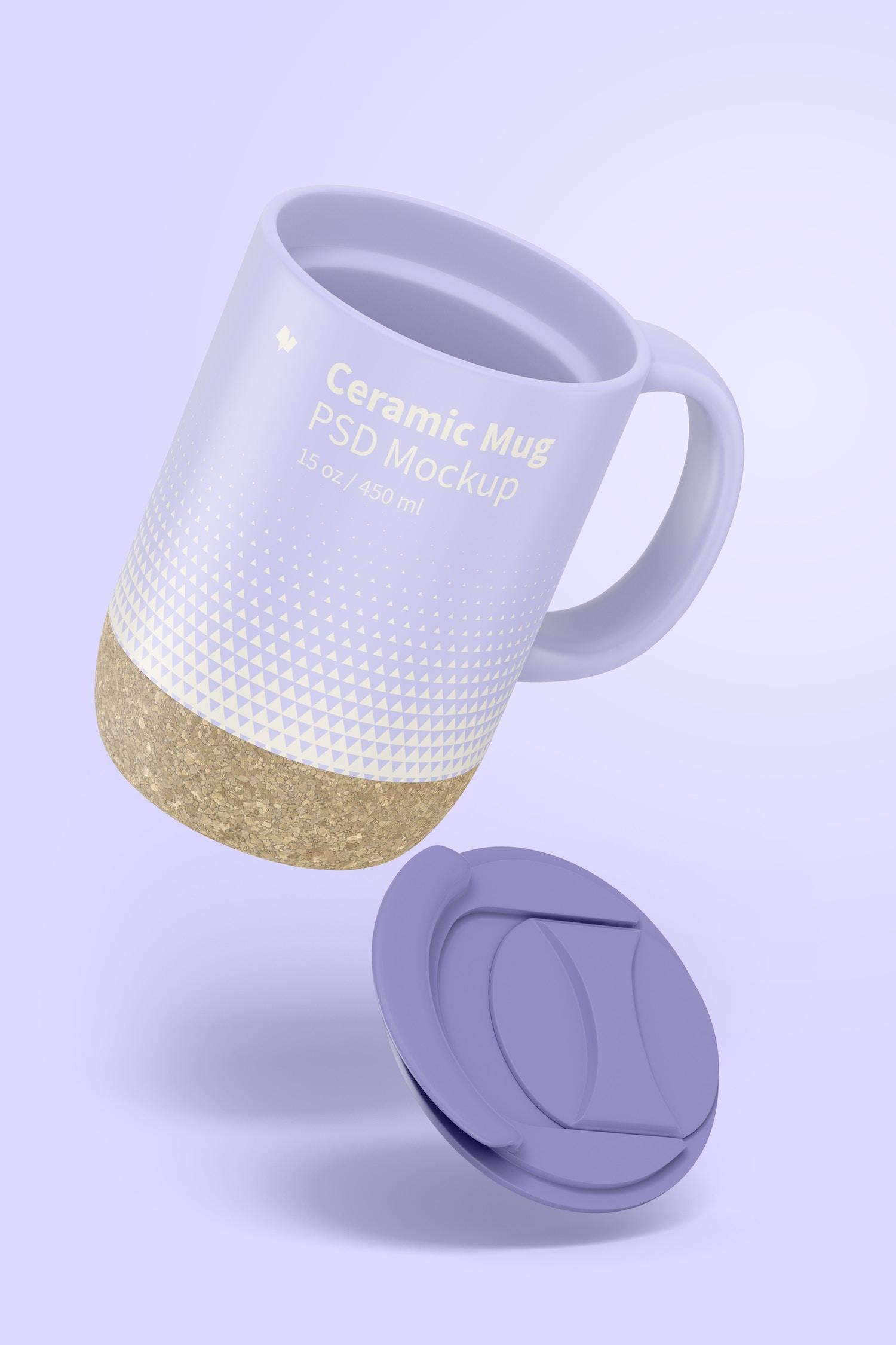 15 oz Ceramic Mug with Lid Mockup, Floating