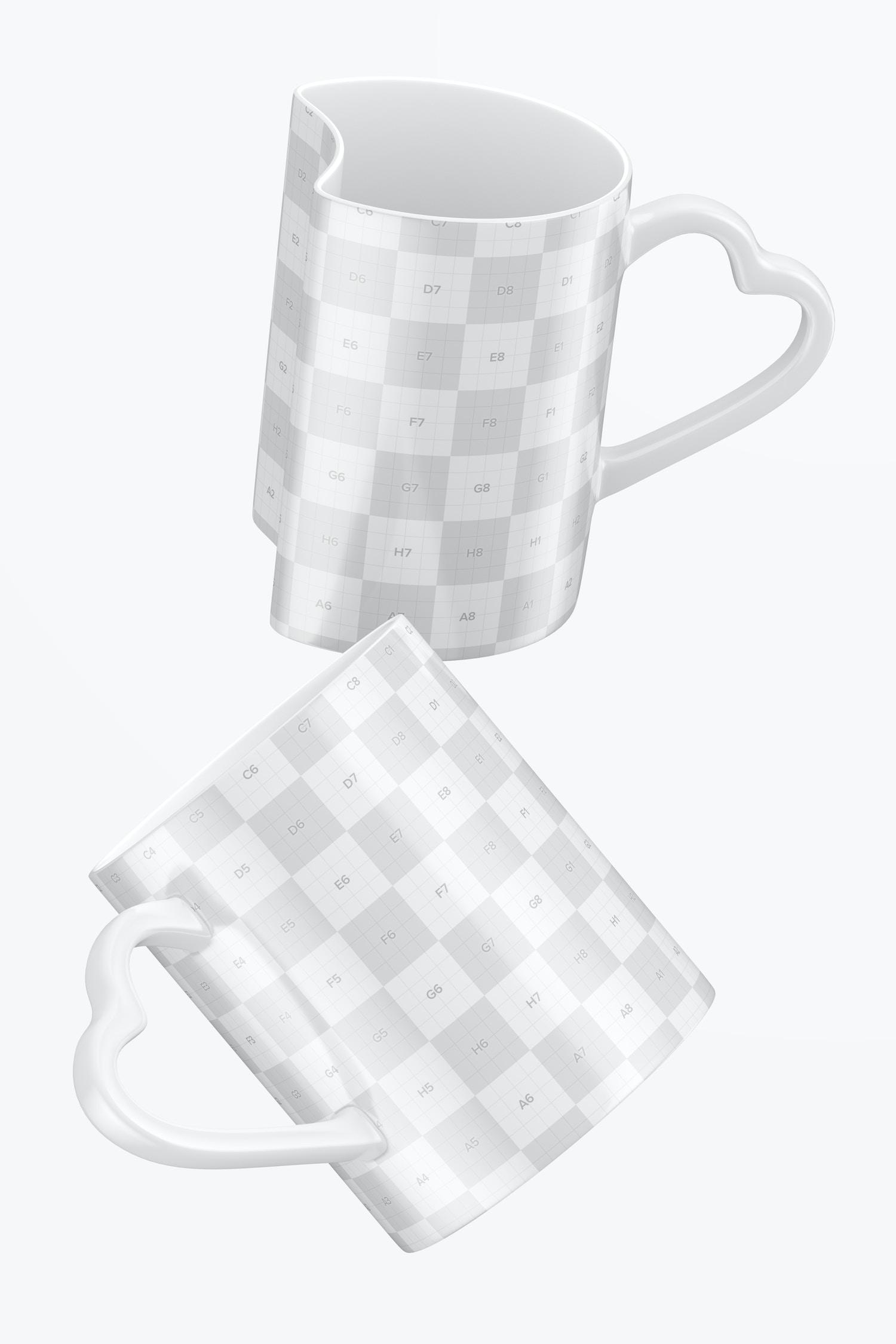Matching Mugs Mockup, Falling