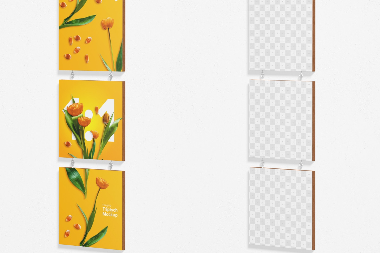 1:1 Hanging Triptych Mockup, Right View