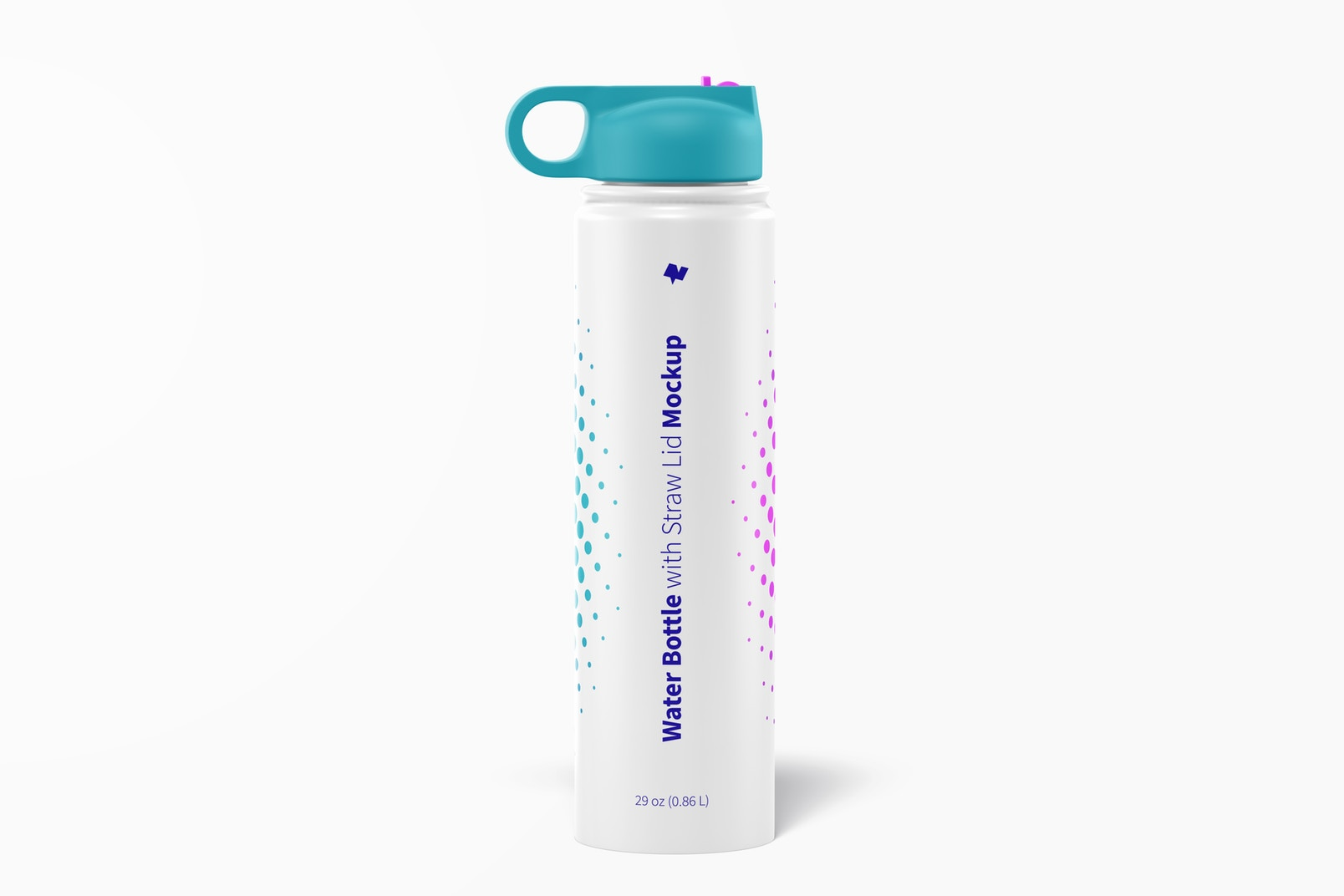 Water Bottle with Straw Lid Mockup
