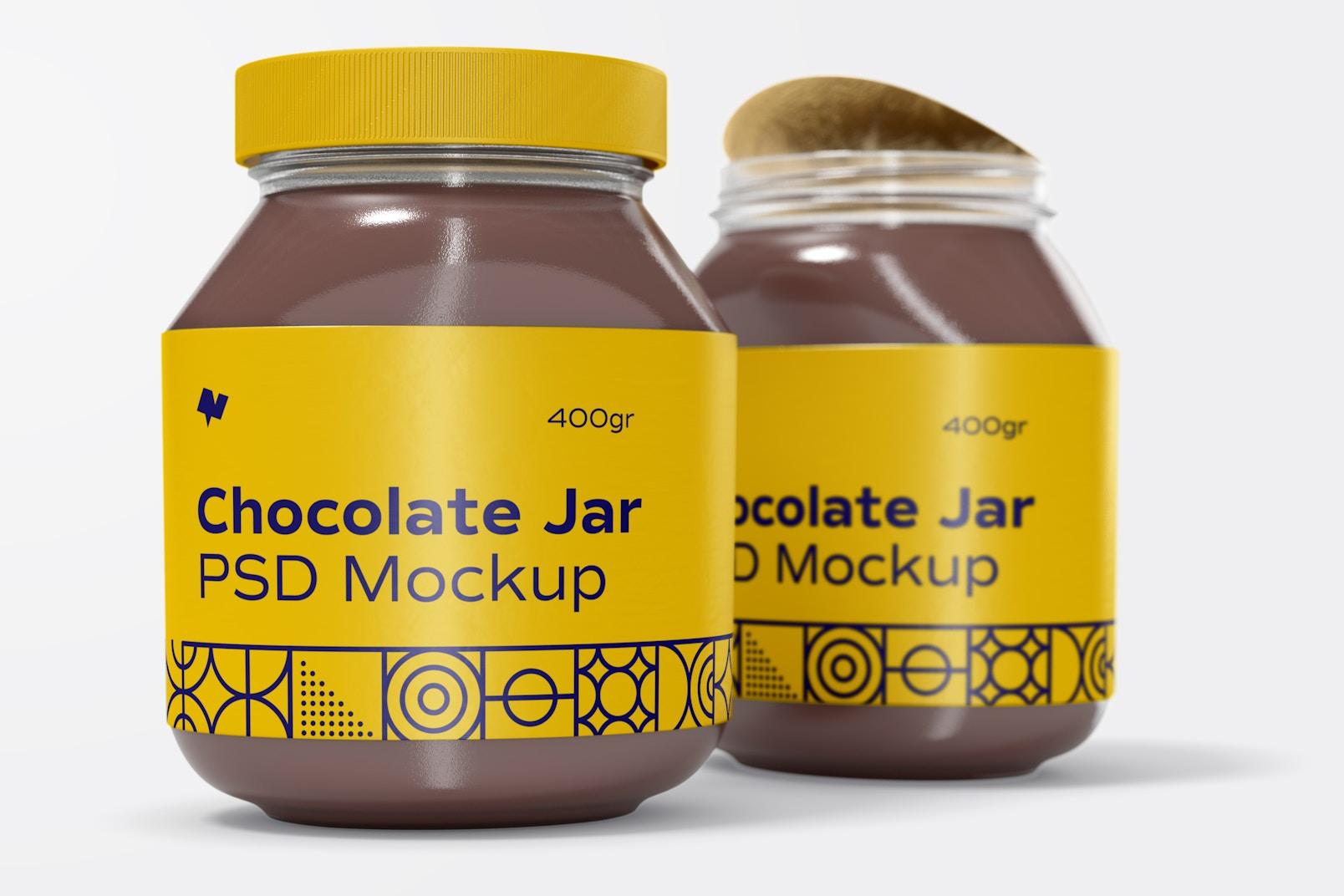 Chocolate Spread Jars Mockup, Left View