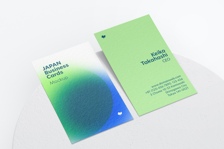 Japan Portrait Business Cards Mockup, Perspective View