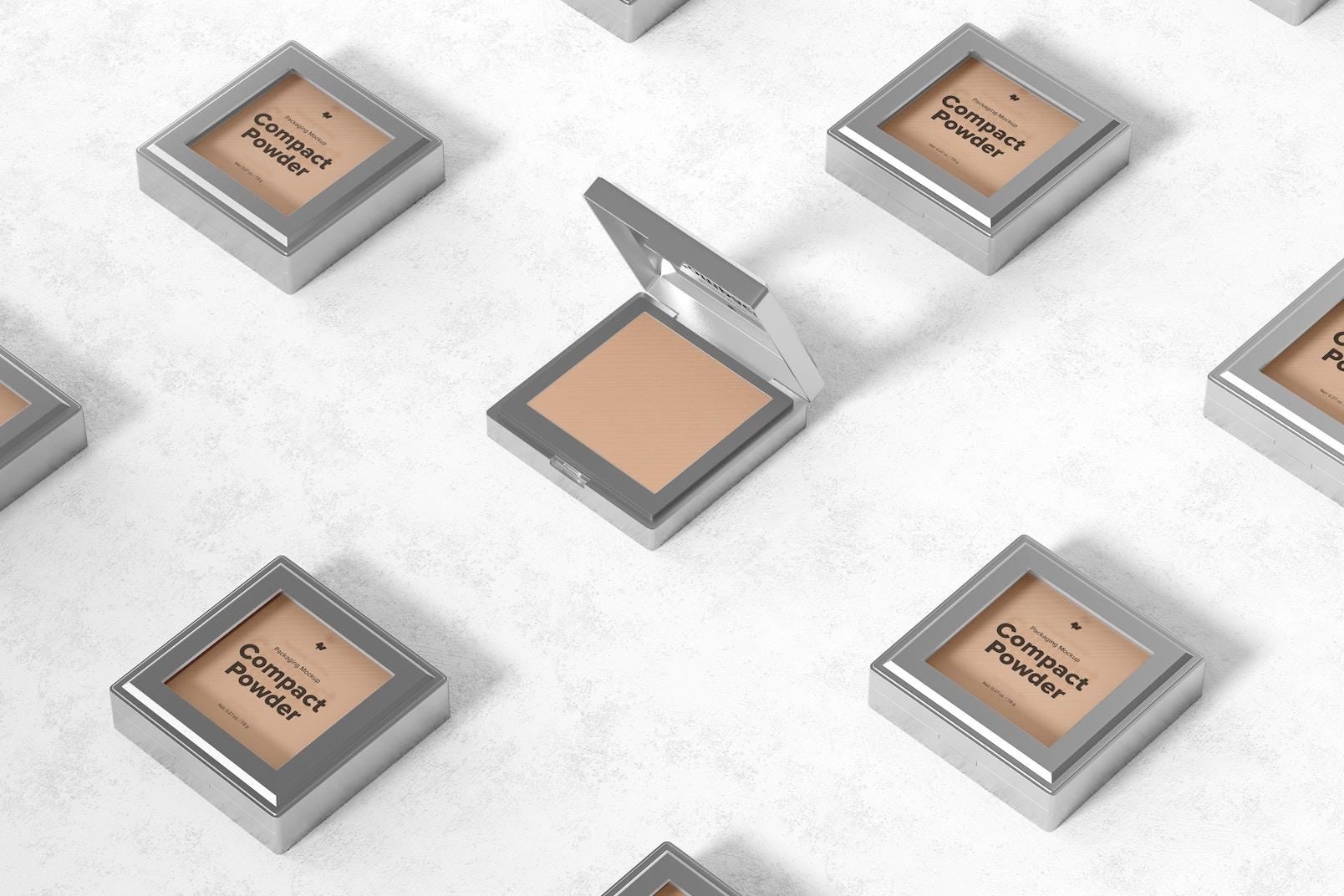 Compact Powder Packaging Set Mockup