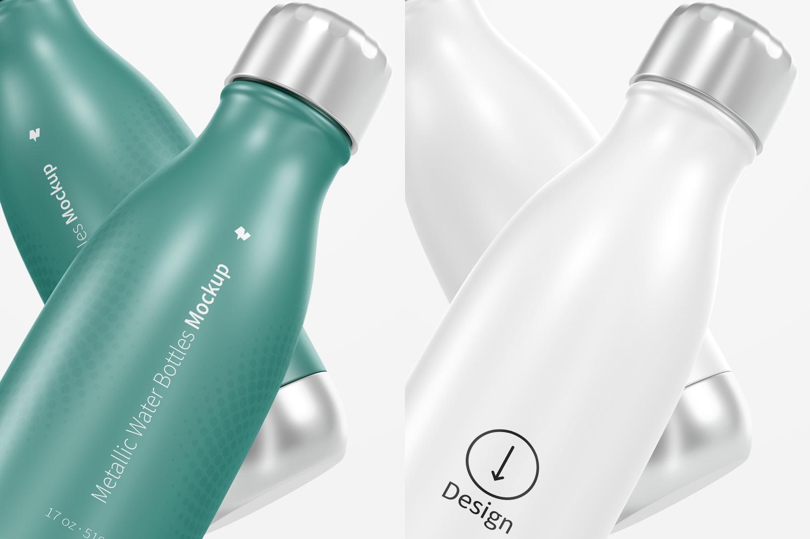 17 oz Metallic Water Bottle Mockup, Close Up