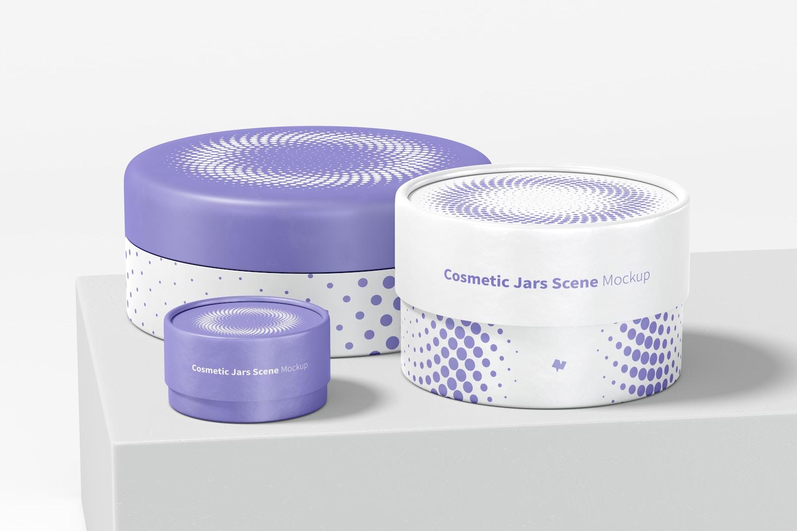 Cosmetic Jars Scene Mockup
