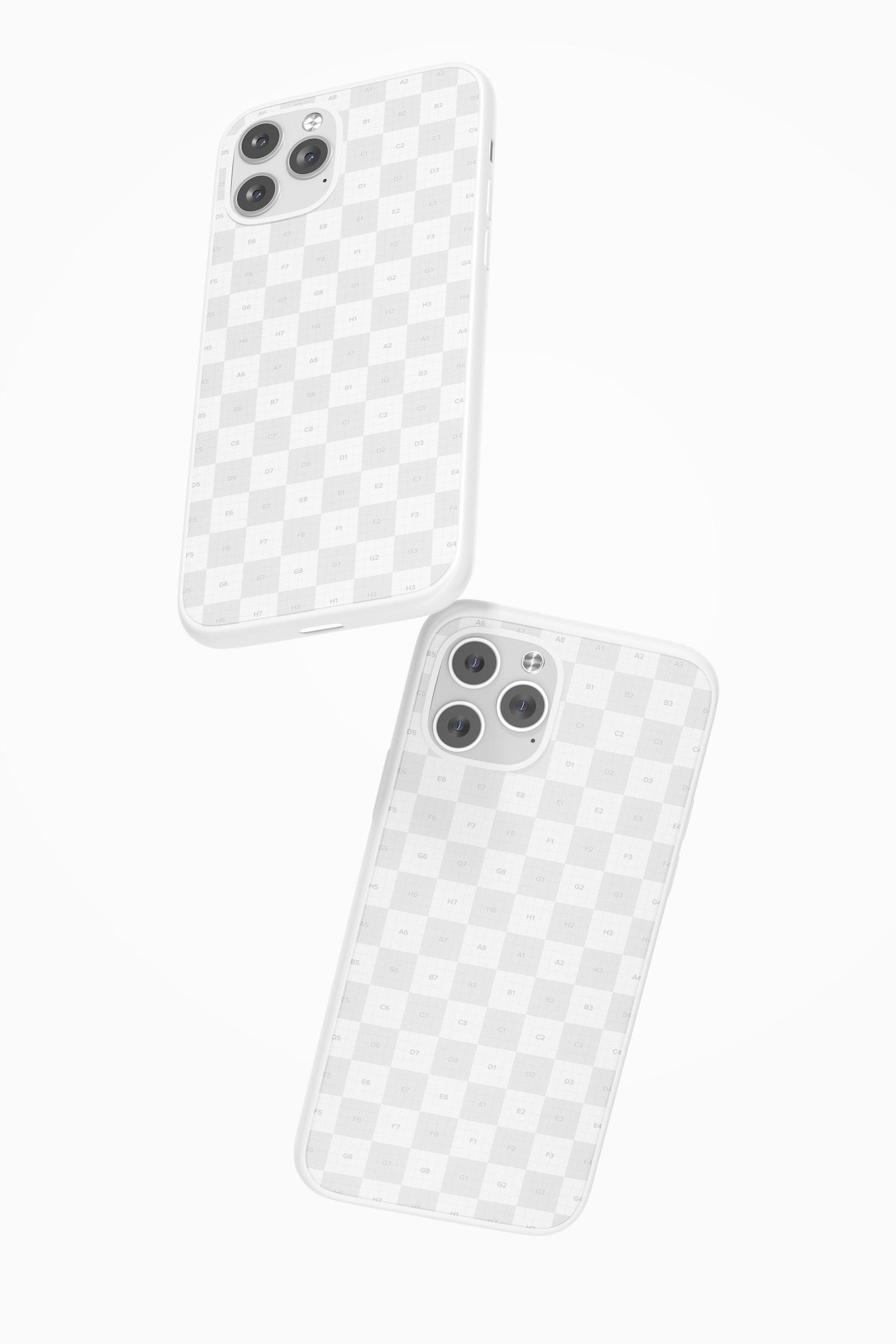 iPhone 12 Plastic Cases Mockup, Falling