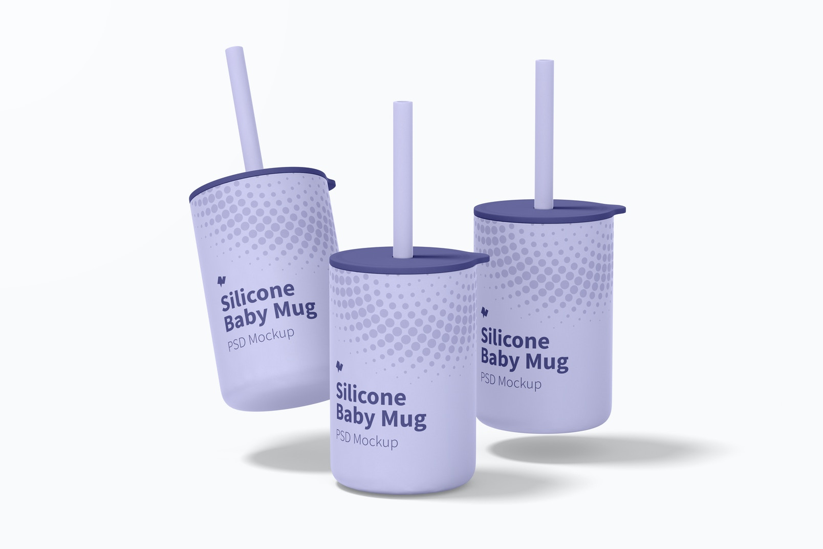 Silicone Baby Mugs with Lid Mockup, Falling