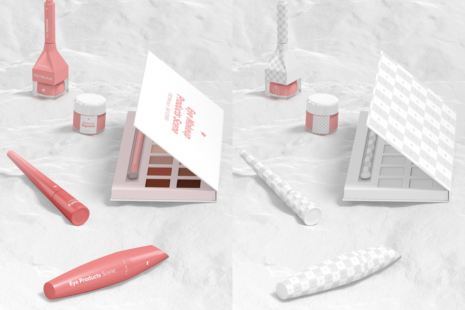 Eye Makeup Products Scene Mockup, Perspective View