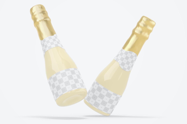 200 ml Sparkling Wine Bottles Mockup, Floating