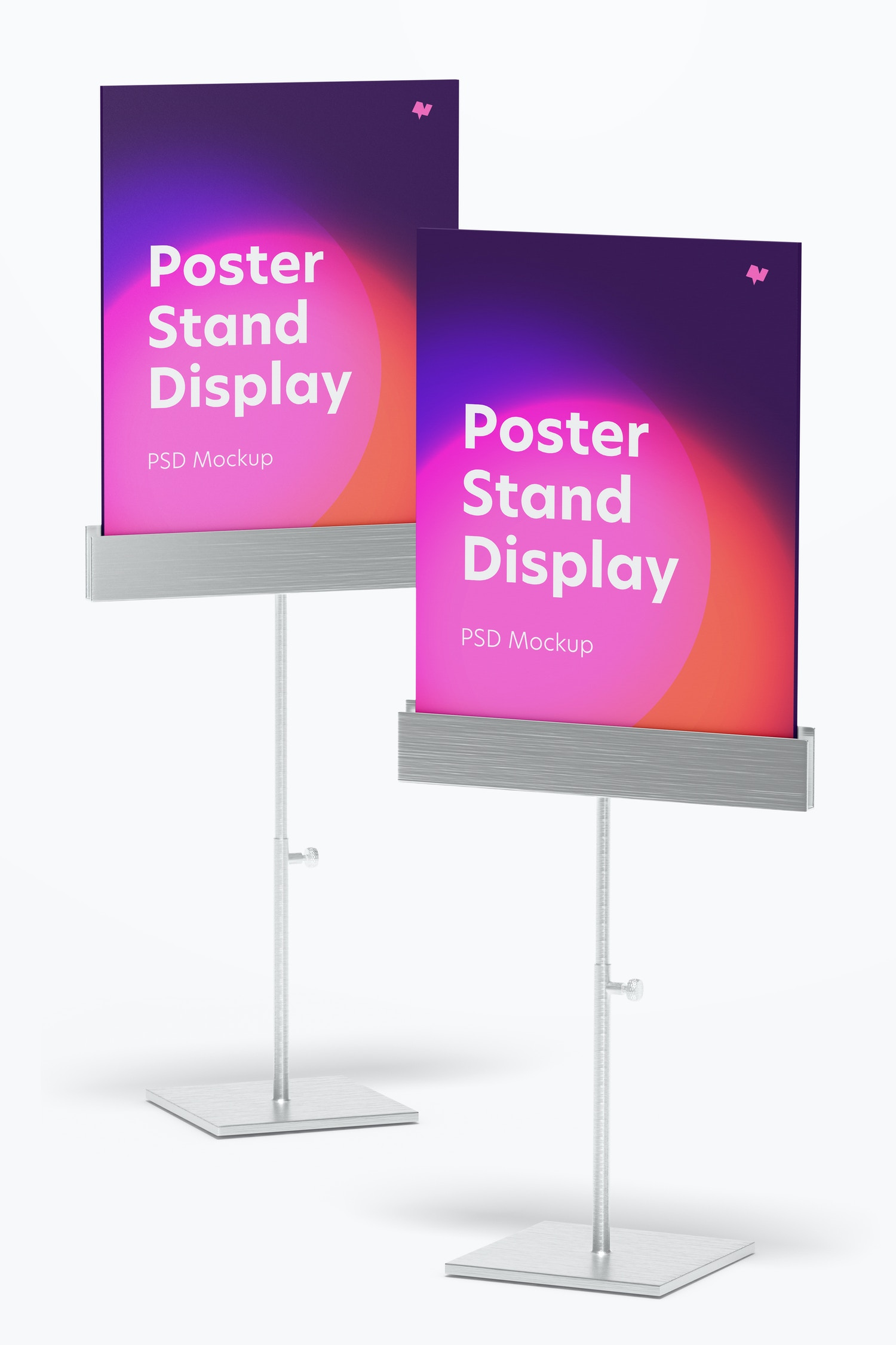 Metallic Poster Stands Display Mockup