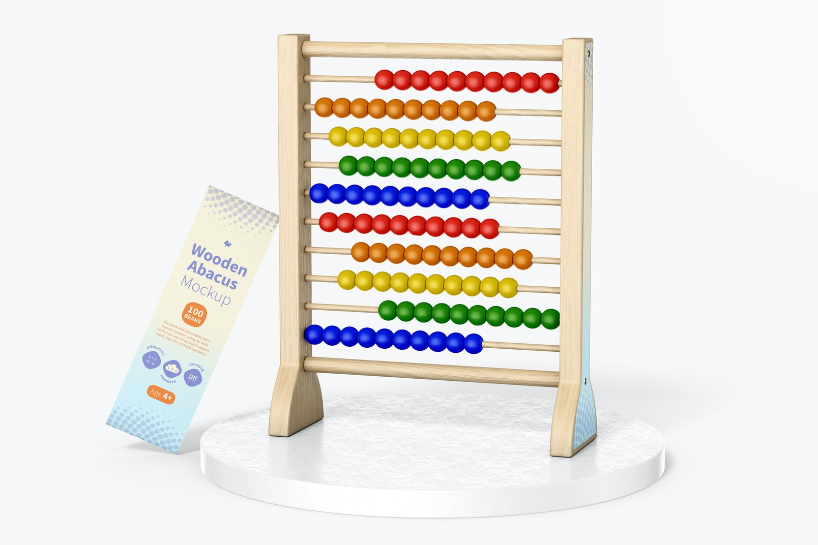 Wooden Abacus Mockup, on Surface