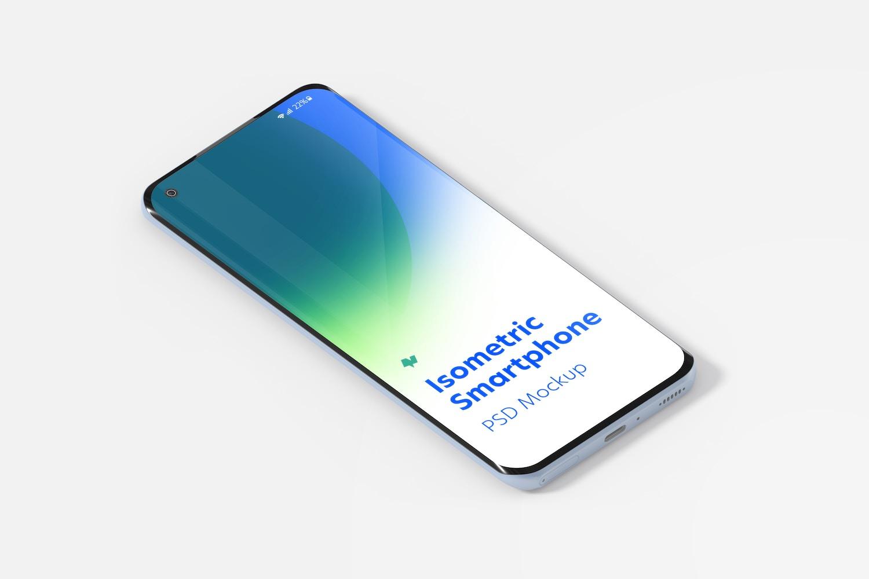 Isometric Xiaomi Smartphone Mockup, Right View