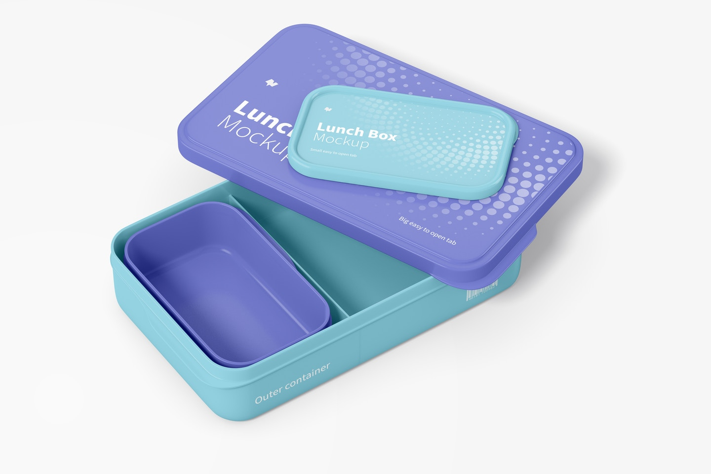 Lunch Boxes Mockup, Opened