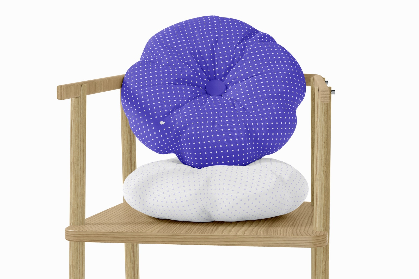 Round Pillow with Button Mockup, Perspective