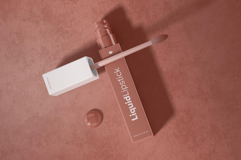 Liquid Lipstick Tube Mockup, Top View