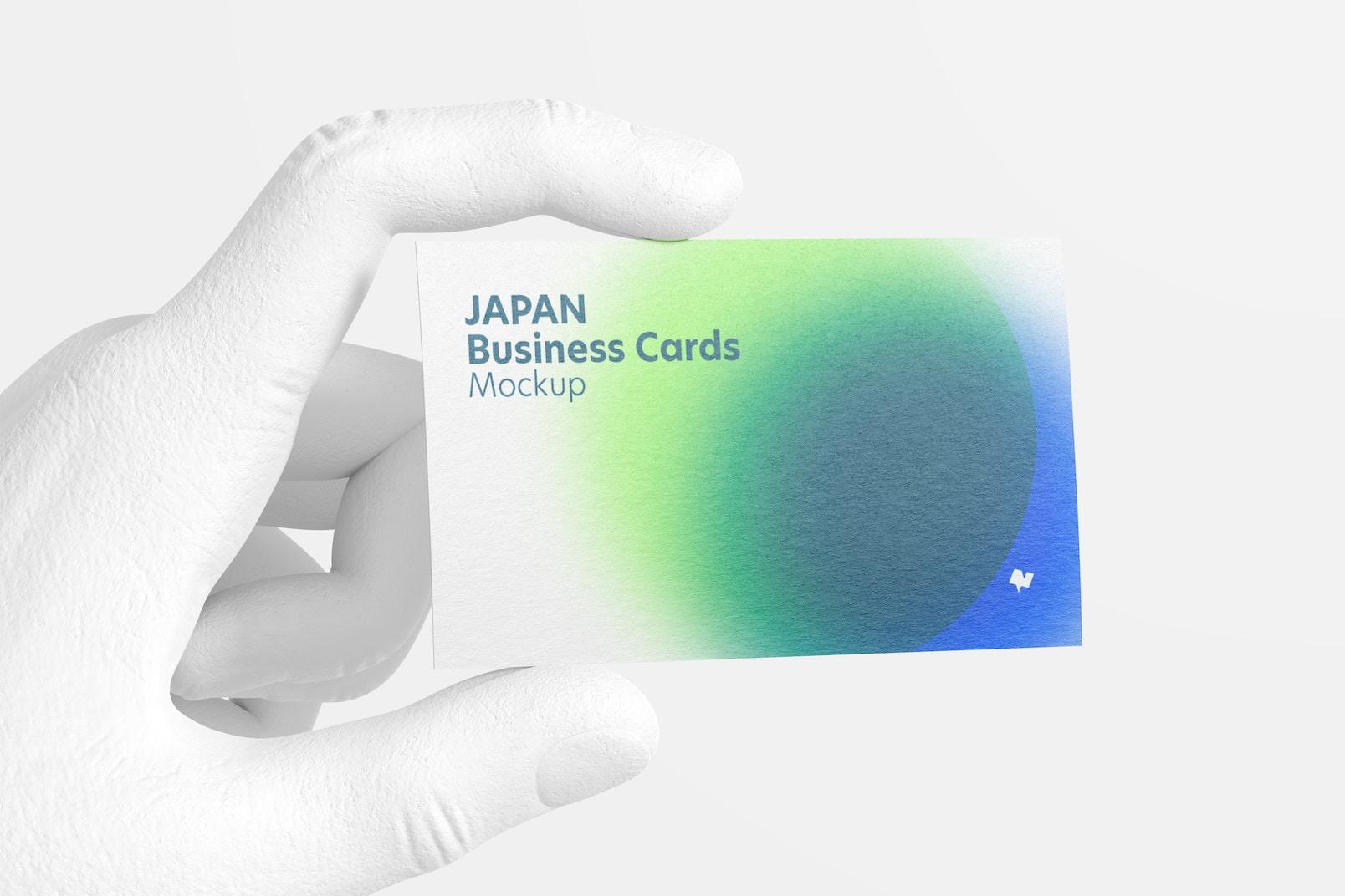 Japan Landscape Business Card with Hand Mockup