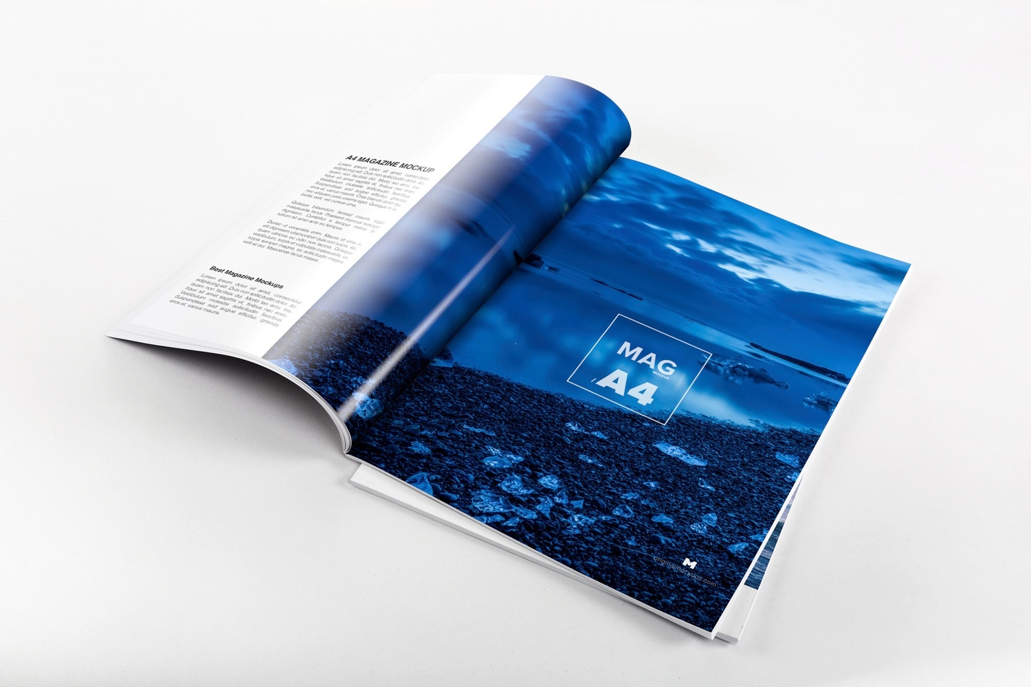 A4 Magazine Spread Mockup by Original Mockups on Original Mockups