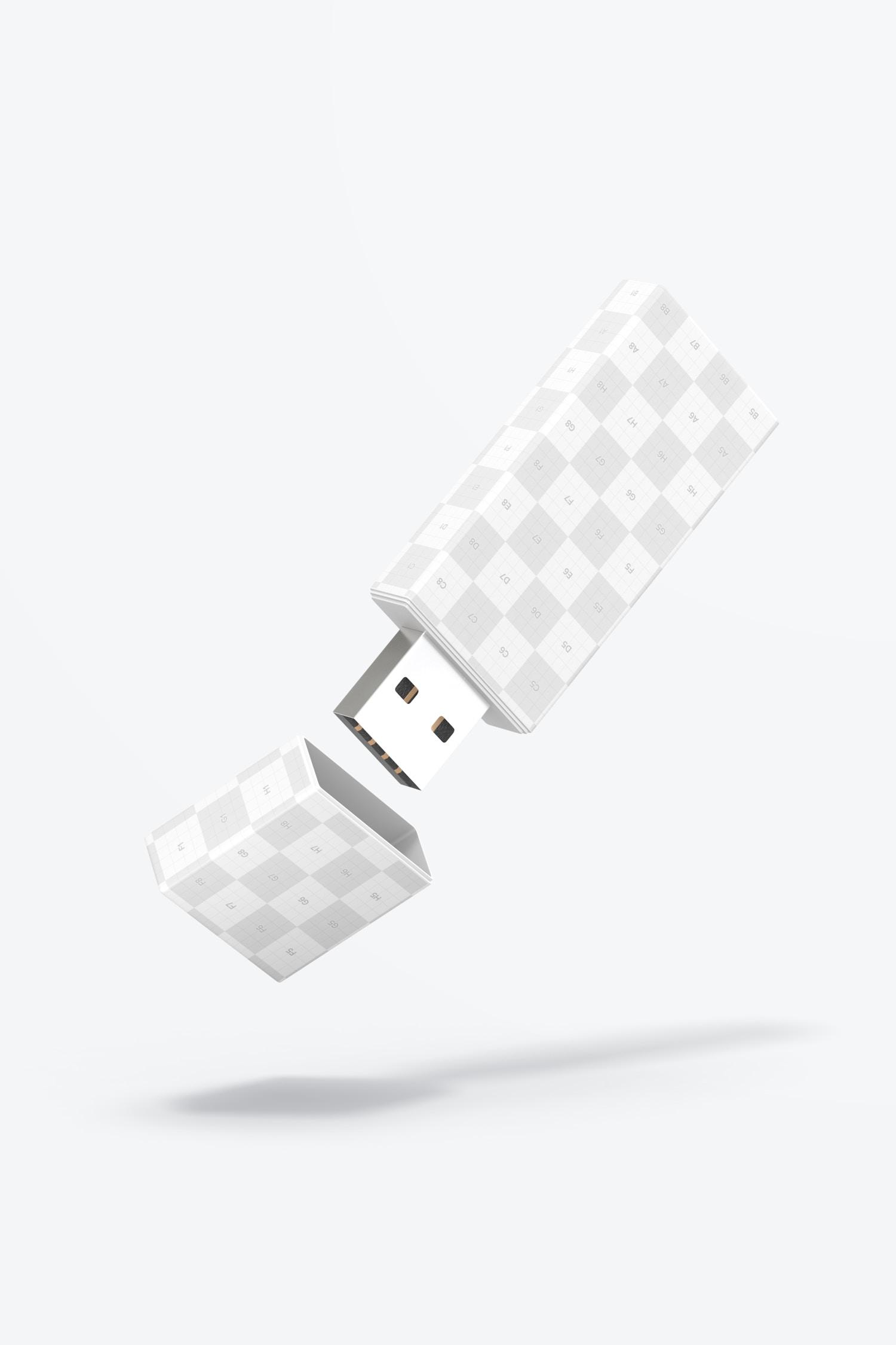 Plastic USB Flash Drive Mockup, Falling