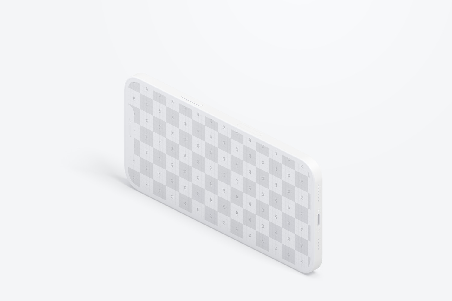 Isometric Clay iPhone 12 Mockup, Landscape Right View