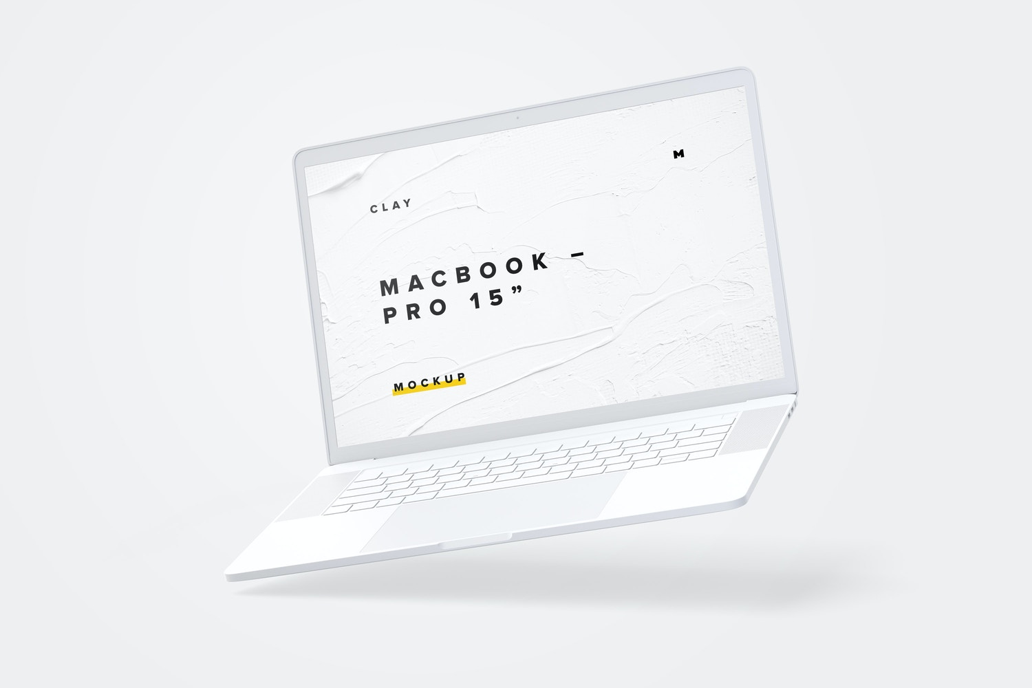 """Clay MacBook Pro 15"""" with Touch Bar Mockup"""