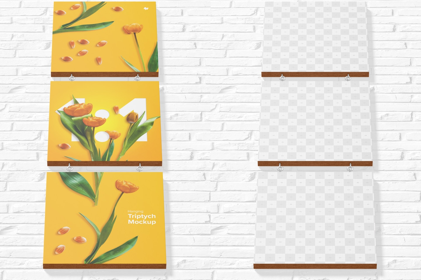 1:1 Hanging Triptych Mockup, Bottom Front View