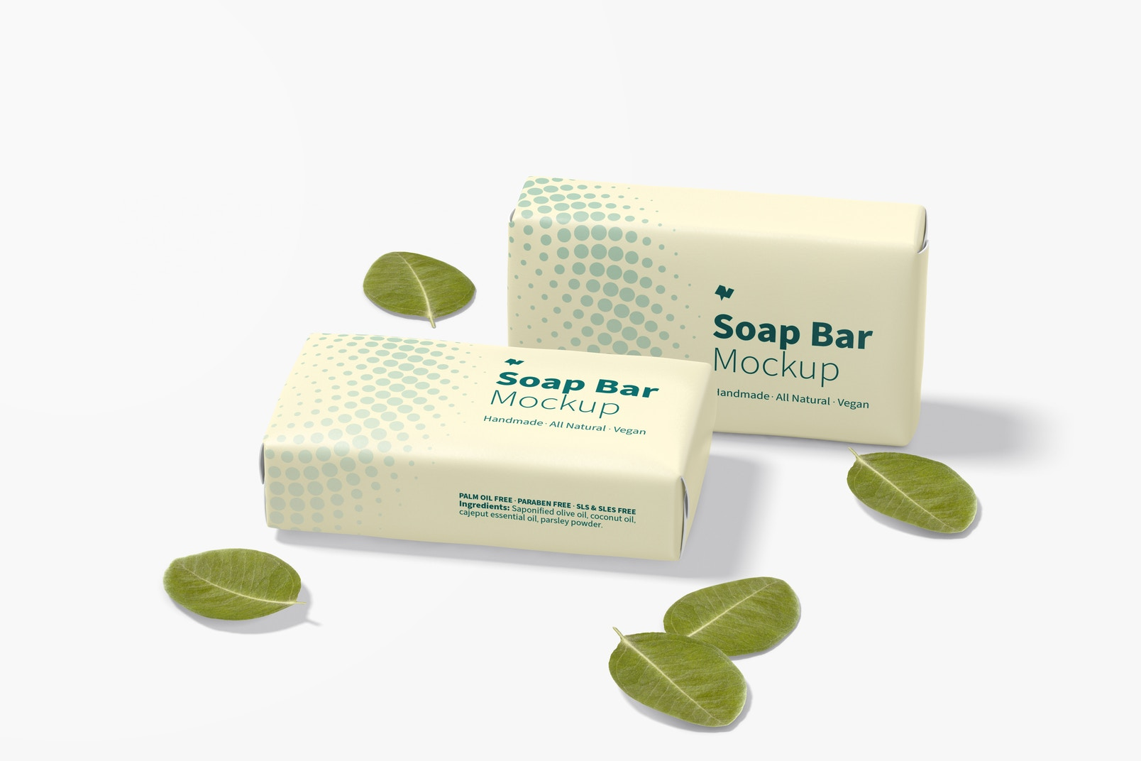 Soap Bars with Paper Package Mockup, Dropped
