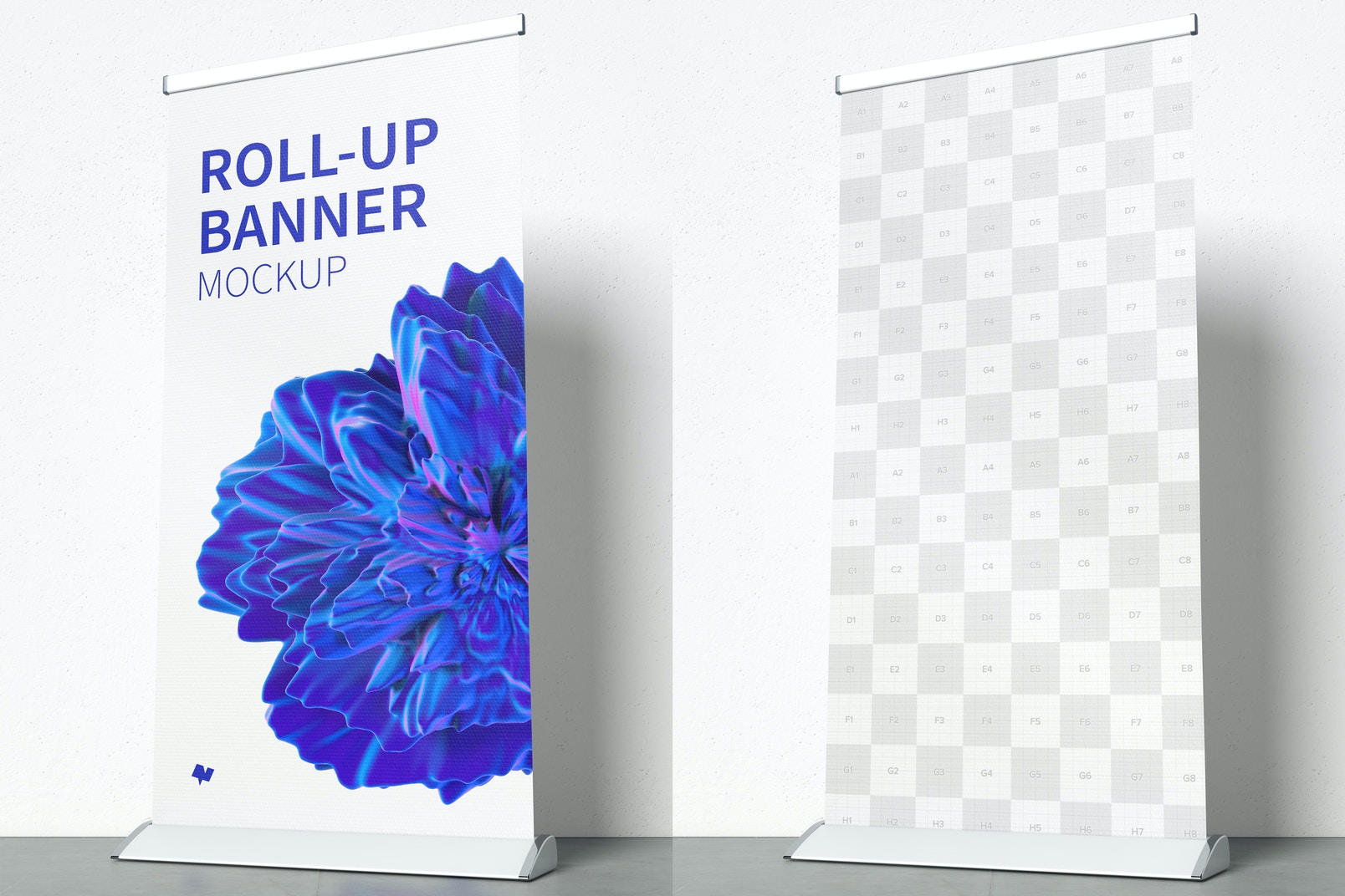 Rollup banner mockup with 1x2 mt in hight resolution (5K)