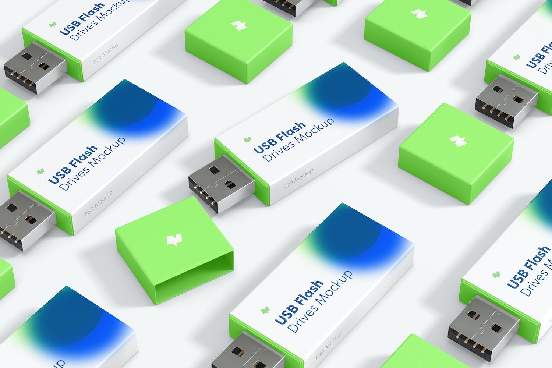 Plastic USB Flash Drives Set Mockup