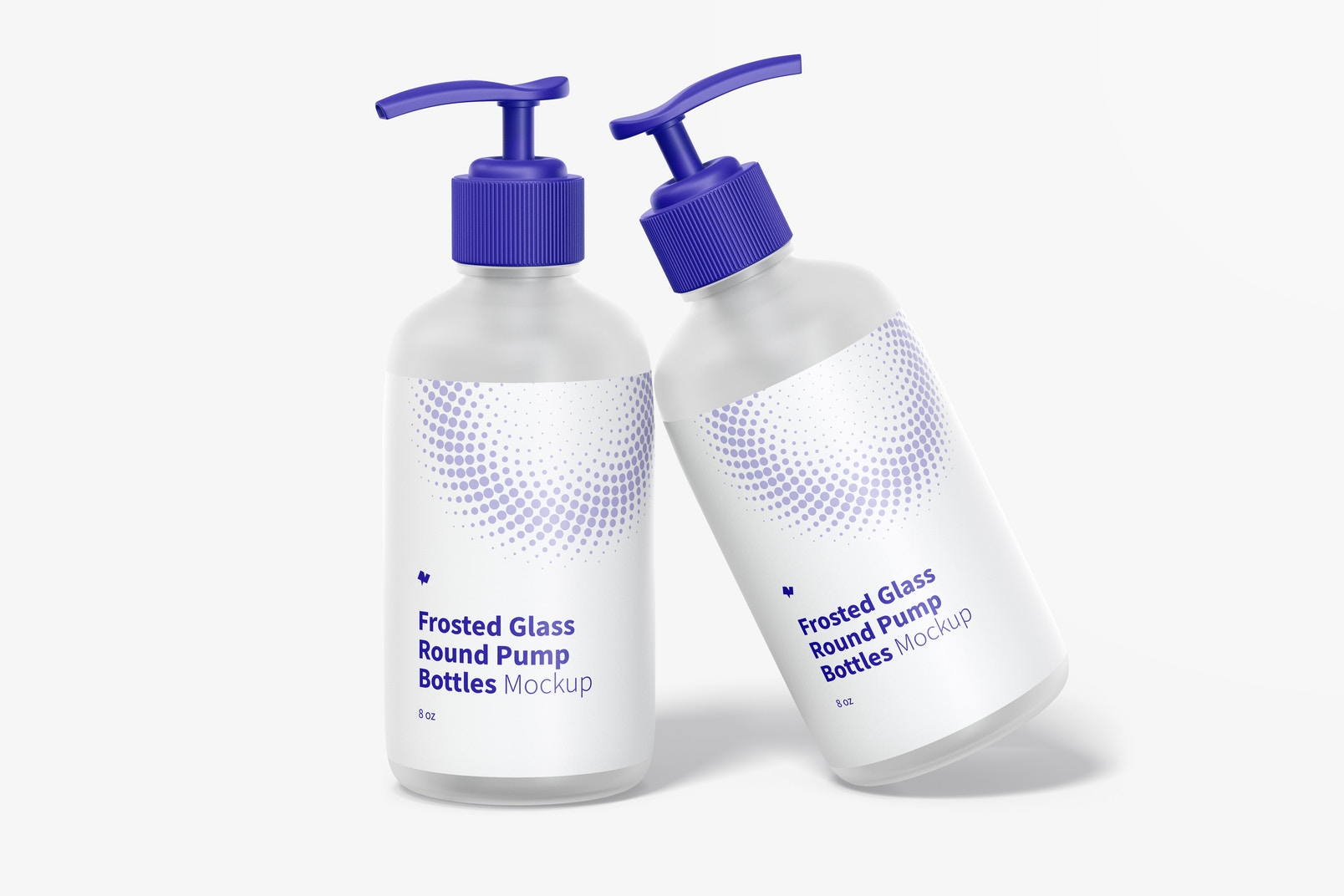 8 oz Frosted Glass Round Pump Bottles Mockup, Leaned