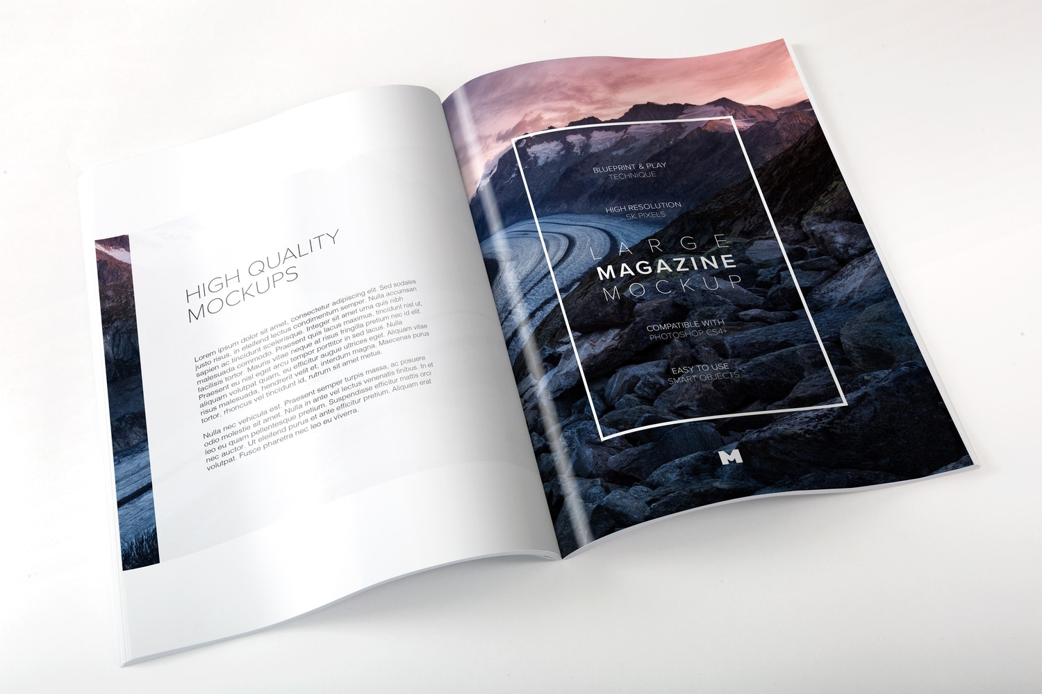Large Magazine Spreads Mockup by Original Mockups on Original Mockups