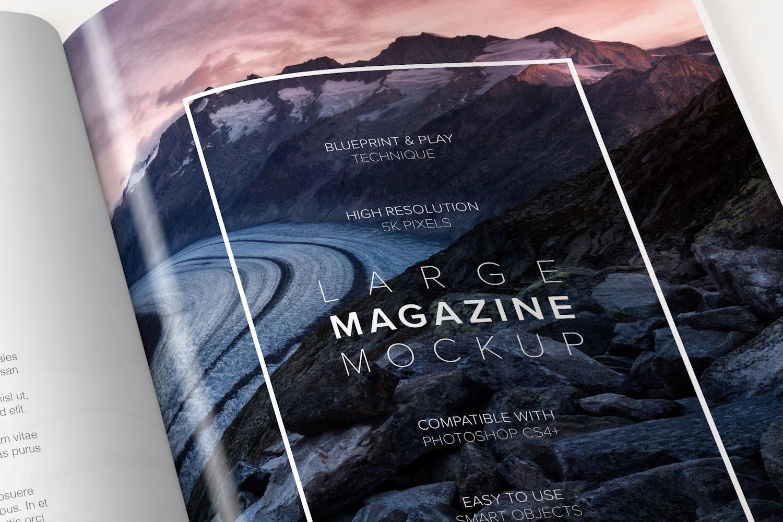 Large Magazine Spreads Mockup
