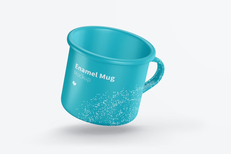 Enamel Mug Mockup, Floating