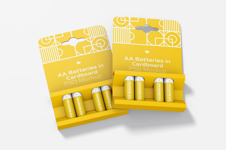 AA Batteries in Cardboard Set Mockup