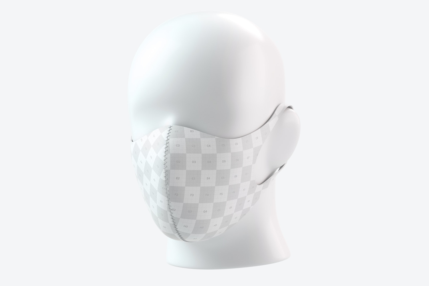 Neoprene Guard Face Mask Mockup, 3/4 Front Right View