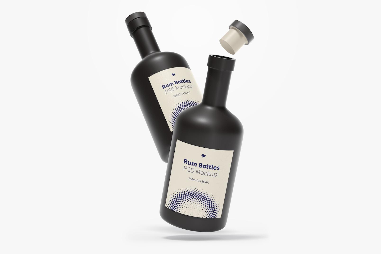 Rum Bottles Mockup, Falling
