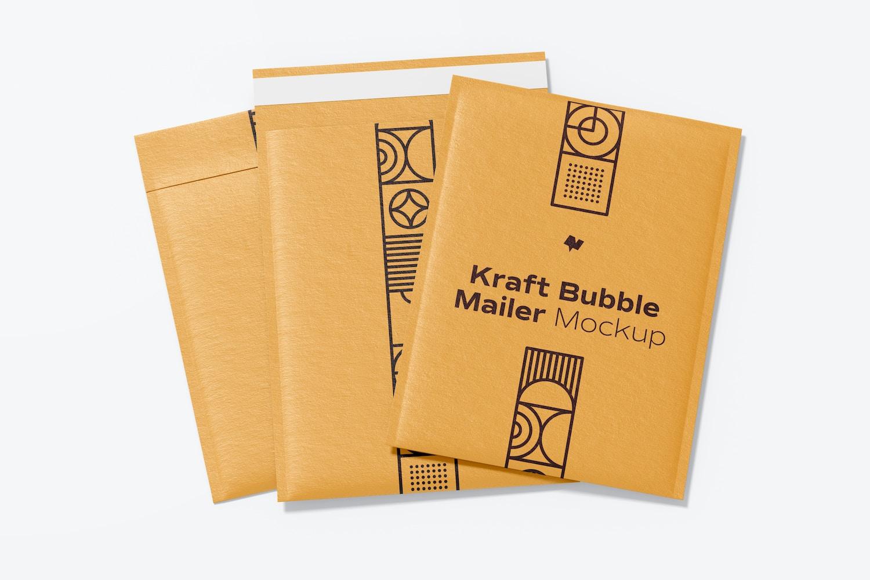 Kraft Bubble Mailers Mockup, Multiple Views