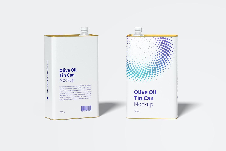 500ml Olive Oil Rectangular Tin Cans Mockup
