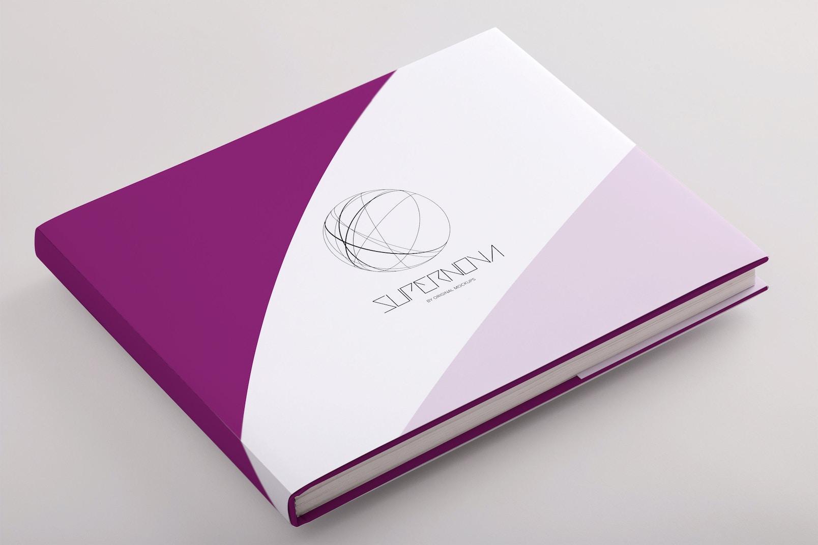Hardcover Standard Landscape Book PSD Mockup 02