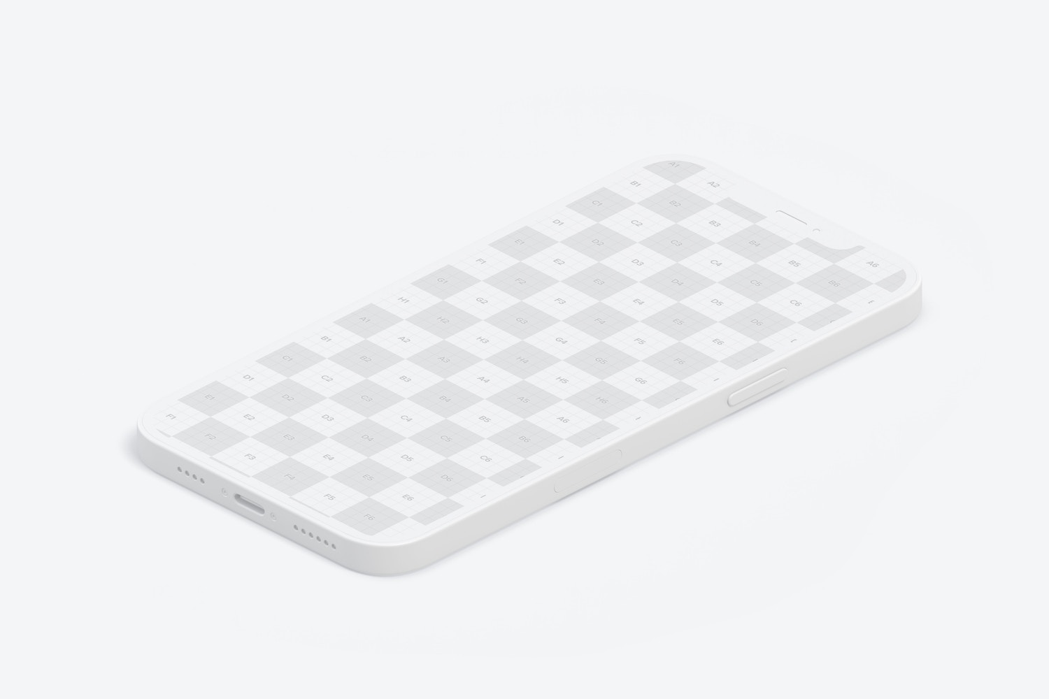 Isometric Clay iPhone 12 Mockup, Right View