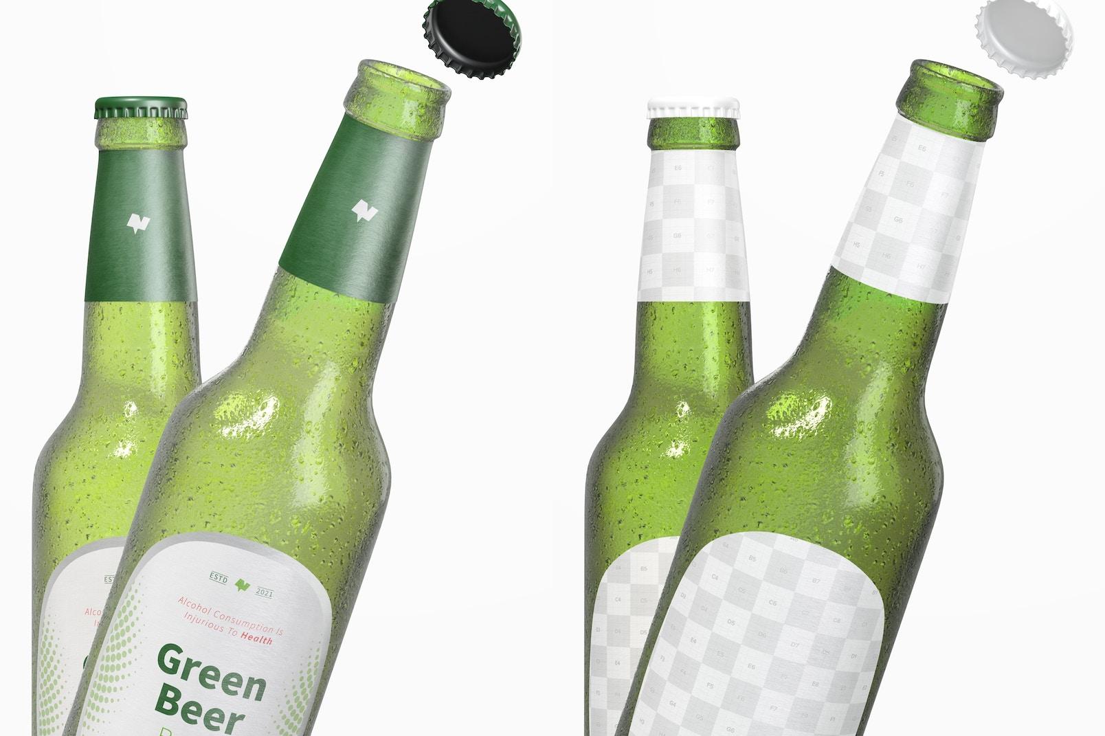 Green Beer Bottles Mockup, Close-Up